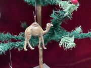 Antique German Dresden Camel Christmas Feather Tree Ornament