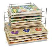 Melissa And Doug Deluxe Metal Wire Puzzle Storage Rack For 12 Small And Large Puzz