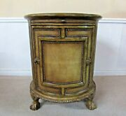 Circular Bar Liquor Cabinet Revolving Door Leather Wrapped Carved Round