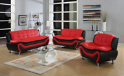 Curbside Shipping To New Jersey - New Sleek Black/red Leather Gel 3pc Sofa Set