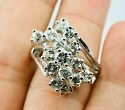 14k White Gold 3.5 Carats Of Round Diamond Cluster Design Huge Look Ring