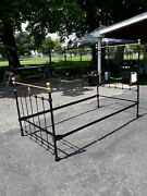 Antique Twin Cast Iron Bed Black Gold Trim Rails.andnbsp Contact For Shipping.