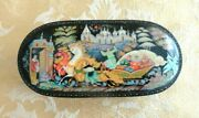 Russian Fedoskino Hand Painted Black Lacquer Hinged Box Horse Sleigh And More