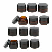12x Refillable Empty Glass Jars W/lids Amber Glass Vial For Cream Lotion 15g+20g