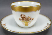 Royal Copenhagen Hand Painted Golden Basket 595 Coffee Cup And Saucer C 1969 - 74