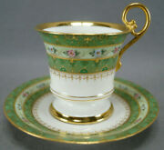 Limoges Ahrenfeldt Hand Painted Floral Green Raised Gold Chocolate Cup And Saucer