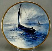 Limoges Hand Painted Signed Leroux Sailboats Maritime Scene Blue And Gold Charger