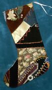 Awesome Antique Vintage Crazy Quilt Christmas Stocking Cutter Quilt Cq93