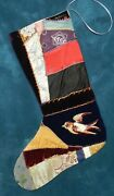 Awesome Antique Vintage Crazy Quilt Christmas Stocking Cutter Quilt Cq95