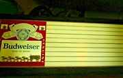 Budweiser Beer Clydesdale Horses Large Lighted Hanging Sign 34x14 Vintage Rare