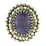 Vintage 14k Gold 10ct Oval Amethyst Solitaire Pearl Halo Textured Statement Ring