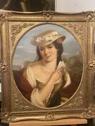 Antique Victorian British 19th Century Portrait Painting Of A Lady Signed /dated