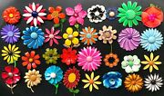 Vintage Flower Pin Lot,🌸🌼32 Cheerful Flower Power Brooches🦋🌹weiss,rainbow