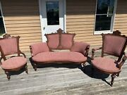 Antique 3 Pc Art Nouvea Heavy Carved Wood Settee Couch Chair Set Eastlake