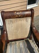 Antique Highly Carved Mother Of Pearl Wood Inlay Rocking Chair Set