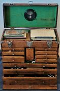 Antique Machinist, Die And Tool Maker Tool Chest W/lots Of Tools And Key Clean