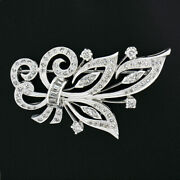 Vintage Platine 1.98ct Baguette Marquise Ancien Coupe Diamant Spray Flame Broche
