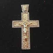 14k 2-tone Gold Fancy Antique Style Cross Accents White Diamonds Made In Greece