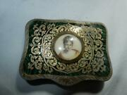 Antique Enamel Inlay Compact Silver And Gold Miniature Painting Made In Italy