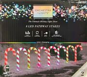 8 Gemmy Orchestra Of Lights Color-changing Candy Cane Pathway Markers