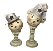 2 Nicol Sayre Collection Mr And Mrs Snowman Midwest Newspaper Hat Wooden Stand