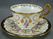 Cauldon Hand Painted Pink Roses Raised Gold And Cobalt Tea Cup And Saucer C