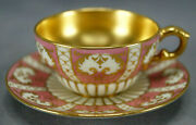 Royal Doulton Raised Gold Pompadour Pink And Gold Interior Demitasse Cup And Saucer