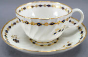 Set Of 4 Flight Worcester Cobalt And Gold Floral And Diamond Tea Cups And Saucers