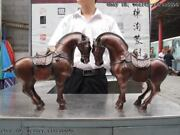 Chinese Royal Classic Red Bronze Copper Made Lucky Auspicious Horse Statue Pair