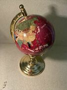 Vintage Small 11by 6 1/2 Inches World Globe With Gemstone Inlay