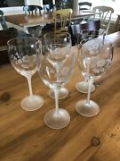 Lot / Set Of 5 Avon Etched Hummingbird Crystal Water Goblets Wine Glasses Exlnt