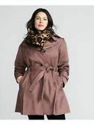 London Fog Womens Pink Belted Button Down Coat Size 3x