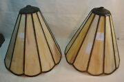 Set Of Two Antique Vintage Stained Glass Lamp Shades Caramel Color
