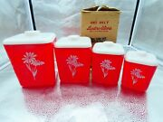 Vintage Lustro-ware Plastic Canister Set Of 4 Red And White Daisies Box Retro