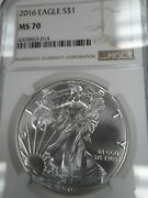 2016 Ms70 Perfect American Silver Eagle Ngc Brown Label Free Shipping