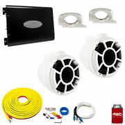 Wet Sounds Rev8w-fc White 8 Towers Arc Audio Ks-300.2 Amp With Wiring Kit