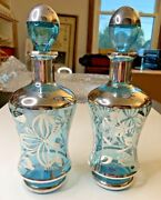 Set Of 2 Vintage Blue And Silver Overlay Glass Decanter And Stoppers Mid Century