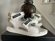 Sold Out 2021 Quilted White Gray Strap Flat Sandal Size 42