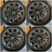 New Tires + 20 Tesla Model S Factory Wheels Grey Rims Fits Perfect On Model S