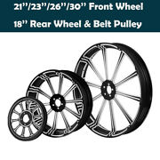 21/23/26/30and039and039 Front 18and039and039 Rear Wheel Hub Rim Belt Pulley Fit For Harley Touring