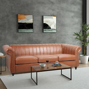 84'' Vintage Style Pu Leather Space Sofa Couch Reversible Chaise Armchairs Brown