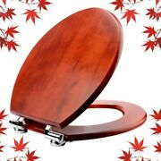 Elongated Toilet Seat Natural Wooden Toilet Seat With Quietly Soft Close Brown