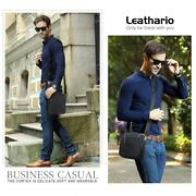 Leathario Bag Man Shoulder Bag Leather Authentic Fashion Business Negro-695