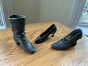 Antique Metal Shoe Boot Pin Cushions Lot Of 3 Germany