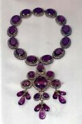 8.58ct Antique Rose Cut Diamond Sterling Silver 925 Engagement Amethyst Necklace