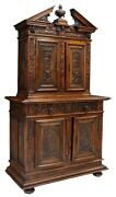 Antique Cabinet Buffet Heavily Carved French Neoclassical Walnut 1800s
