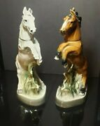 Vintage James B Beam 1962 Rearing Horse Decanter Glossy Regal China Sculpture ×2