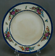 Set Of 9 Booths Pattern 9237 Pink Rose Floral Blue And Gold 9 3/4 Plates C. 1917