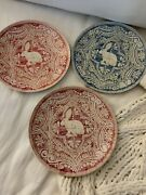 New Pottery Barn S/3 Graphic Bunny Salad Plates Easter Rabbit Blue Coral Pink