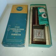 Taylor Indoor And Outdoor Thermometer Wooden And Metal New In Box 5341 Vintage